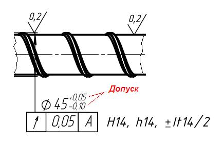 фрагмент чертежа реального шнека номинальным диаметром 45 мм